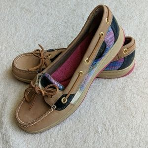 Sperry Pink and Blue Sequin Boat Shoes